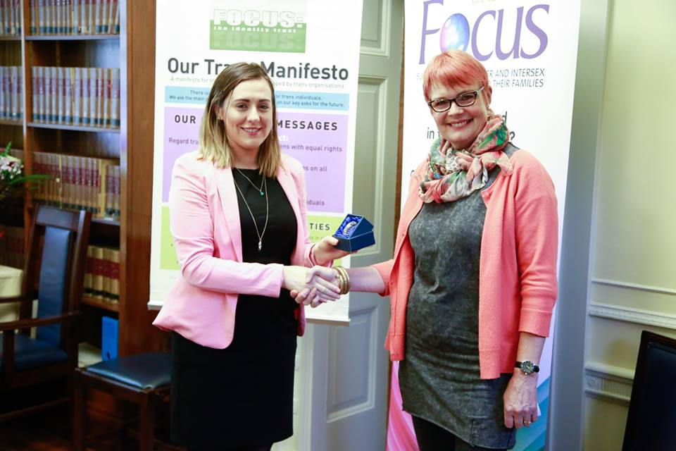 Stephanie Mitchell accepts Focus Transgender Champion award 2016 from Junior Minister Megan Fearon MLA